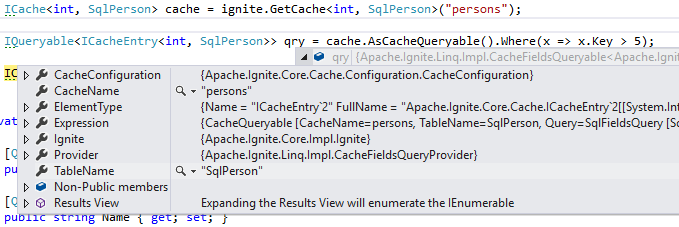 ICacheQueryable Debug View